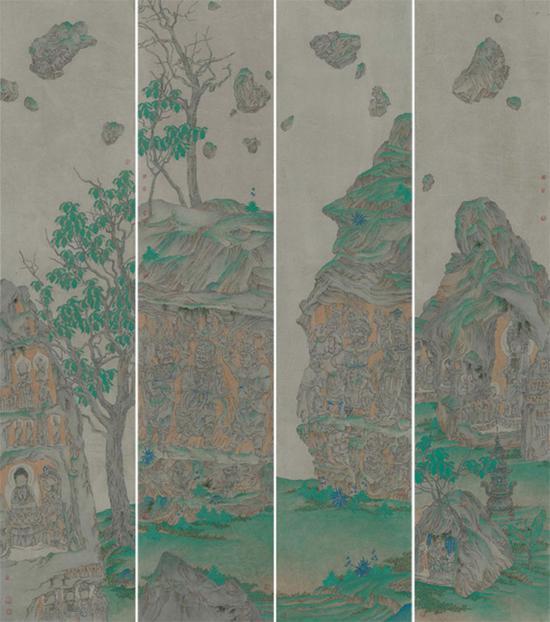 《石头记》190×42厘米 纸本重彩 李月林 2016年