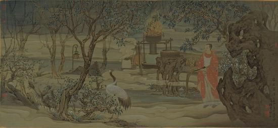 《夜之罗浮》60×130厘米 绢本水墨 董婷竹 2015年