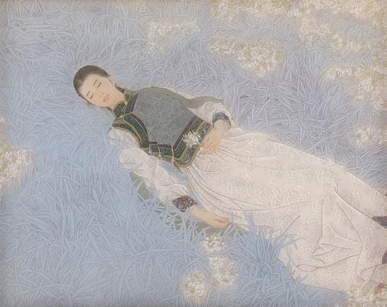 《巴音锡勒草原的芬芳》120×150厘米 绢本 天然矿物色 白桦 2016年