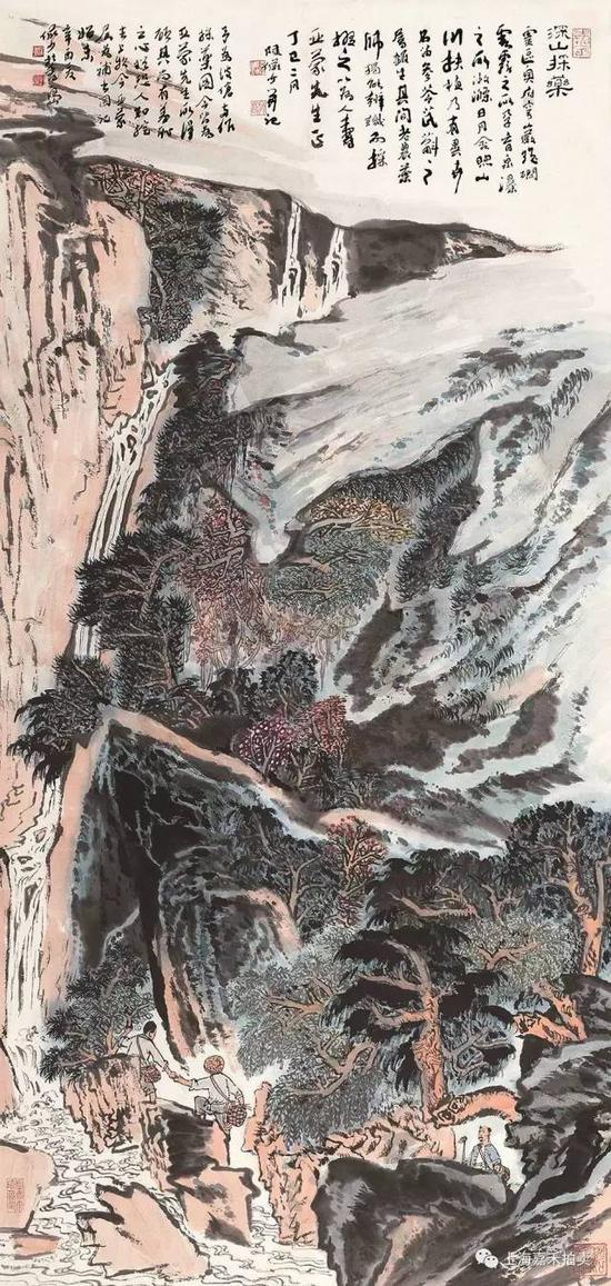 陆俨少(1909-1993) 深山采药  设色纸本立轴丁巳1977年作