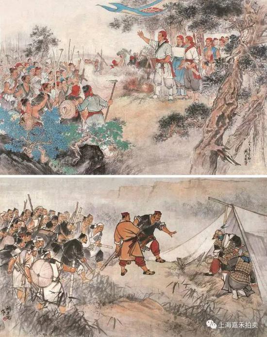 刘旦宅(1931-2011) 陈胜吴广起义  设色纸本镜片两幅1958年作