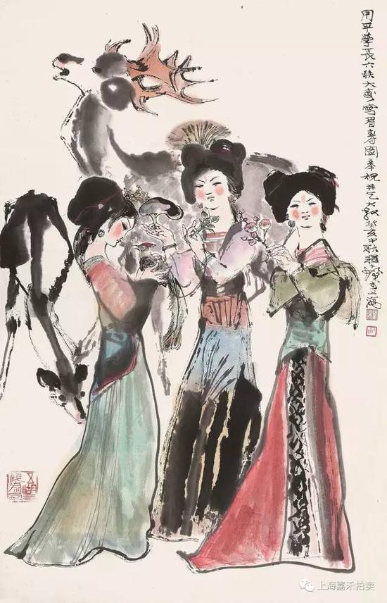 程十发(1921-2007) 眉寿图  设色纸本镜片癸亥1983年作