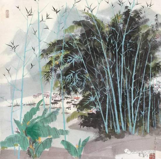 吴冠中(1919-2010) 漓江竹林 设色纸本立轴1977年作 67×67cm约4.0平尺