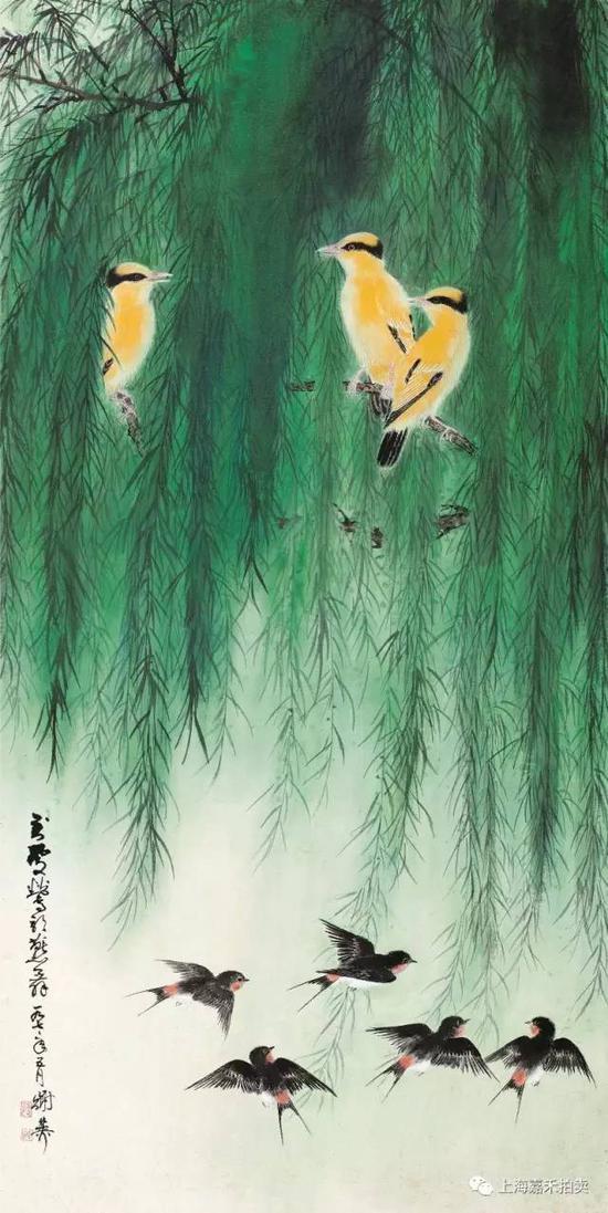 谢稚柳(1910-1997) 莺歌燕舞  设色纸本立轴1977年作