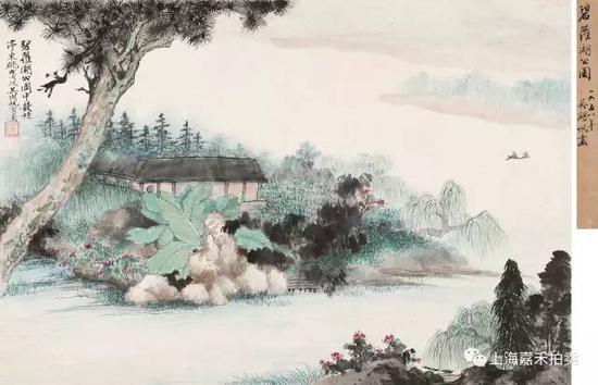 吴湖帆(1894-1968) 碧萝湖公园  设色纸本镜片戊戌1958年作  44.8×66.8cm约2.7平尺