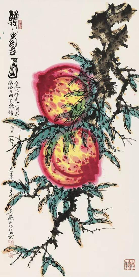 吴欢2016年作《双寿图》,镜心纸本,138×70cm,北京匡时十周年秋季拍卖会,成交价20.00万元
