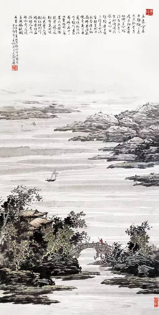 吴欢1998 年作《水远天长》,水墨纸本,98×45cm