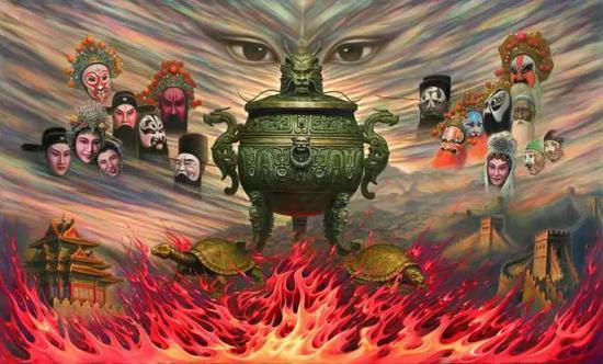 """吴欢2012年作""""天眼""""系列油画之《天眼下的戏曲》,145×245cm"""