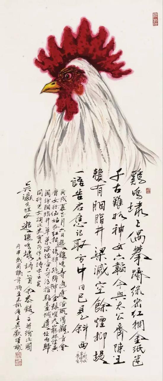 吴欢作《大吉图》,镜心,设色纸本,137×60cm,北京保利2016秋拍,成交价27.60万元