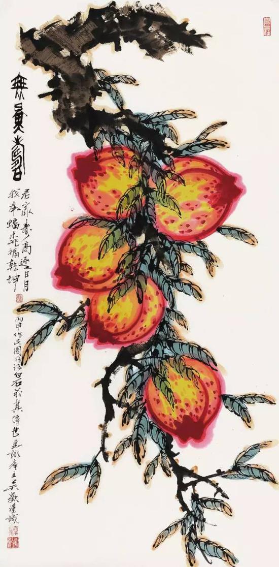 吴欢作《无量寿》,镜心,设色纸本,137×70cm,北京保利2016秋拍,成交价25.30万元