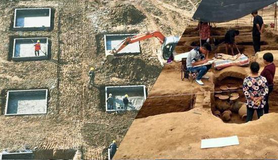 河南大型古墓群施工与考古对比