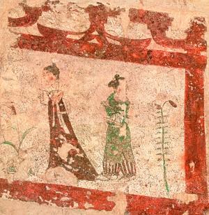 唐代李凤墓壁画中的侍女,或立或行于廊间,一片古拙简洁清峻的气息