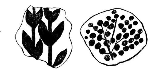 咸阳宫壁画的竹图与梅图(根据考古报告印刷版)