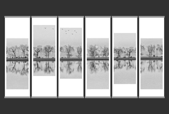 吴力《望湖》,77x34cm,摄影,2016年