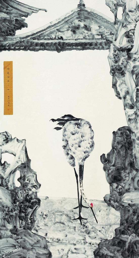 李恩成,《闲庭信步之七》,纸本水墨
