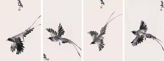 《飞鸟集》,纸本水墨,69cm×46cm,2013年
