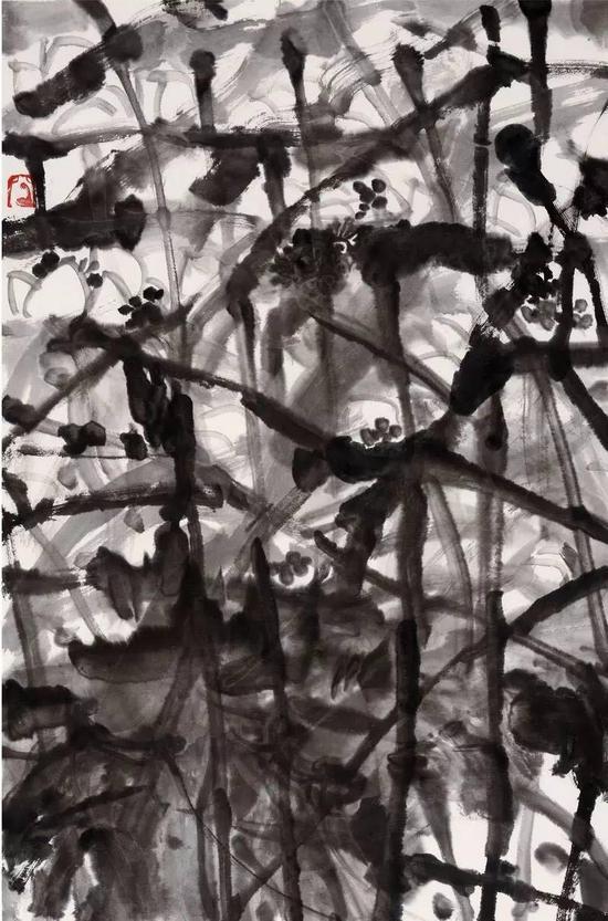 《荷魂》,纸本水墨,45cm×69cm,2014年