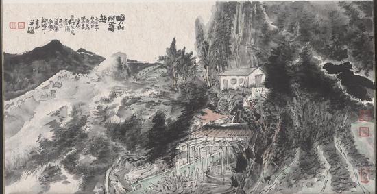 常朝晖,《崂山烟云起》, 纸本水墨,50x30cm,2016年