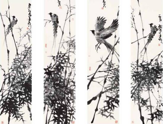 《伴竹系列》,纸本水墨,138cm×34cm,2016年
