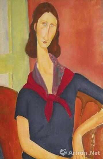 2016年6月,意大利艺术大师莫迪里阿尼的作品《戴围巾的珍妮·埃布特尼》于伦敦苏富比拍卖会以3850.9万英镑(约合3.7亿元人民币)落槌。画作是娴静的,背后的爱情故事其实是炽烈的。