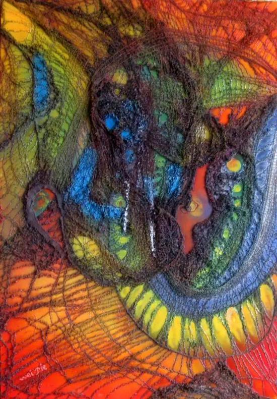 纤维画《网络世纪-1》