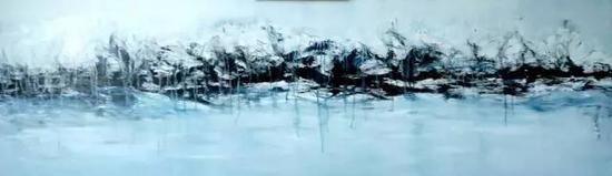 油画《三界-禅境系列》之1,200cm×40cm