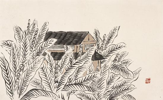借山图之二 白蕉书屋 30×48cm 纸本设色 1910年