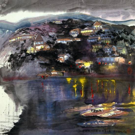 《卡塔琳娜岛之夜》陈雄立 68×67厘米 1993年