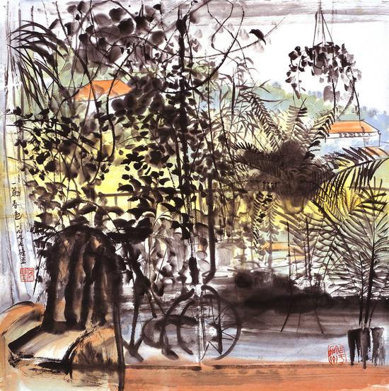 《一帘春色》陈雄立 68×68厘米 1999年