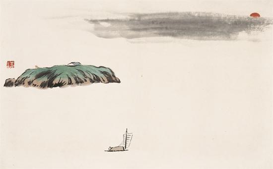 借山图之四 洞庭君山 30×48cm 纸本设色 1910年
