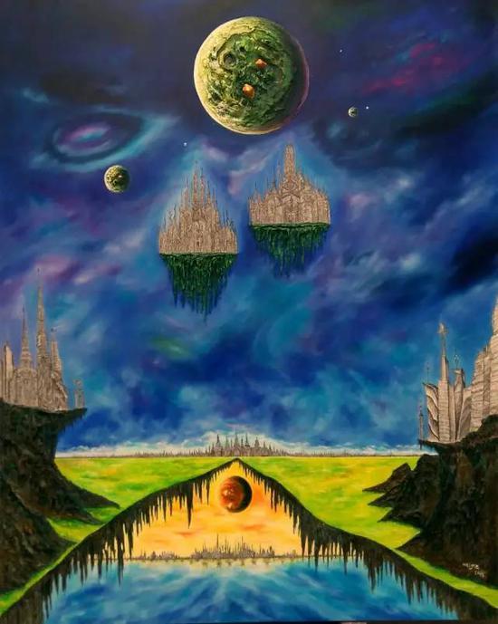 油画《三界-星球系列》,综合材料,200cm×160cm