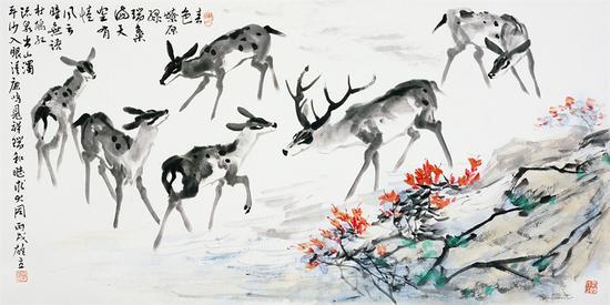 《春色燎原》陈雄立 68×136厘米2006年
