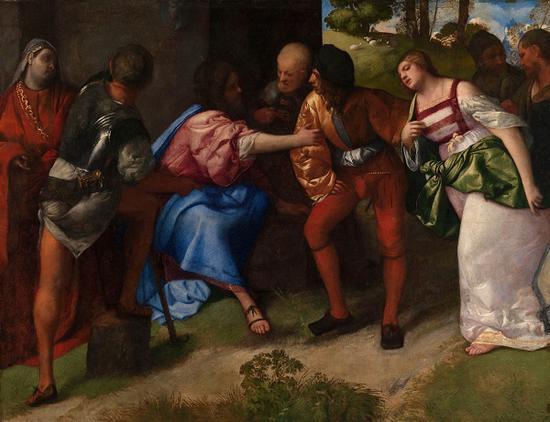 提香创作于1510年的作品《基督与淫行妇人》。图片来源:Photo (c) CSG CIC Glasgow Museum Collections