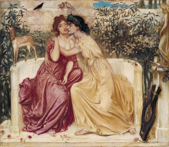 Simeon Solomon,《Sappho and Erinna in a Garden at Mytilene》(1864)。图片:Courtesy Tate