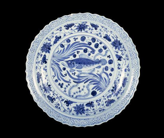 元青花鱼藻纹盘(大英博物馆)