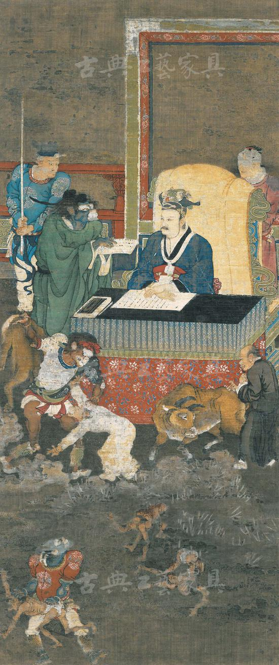 图3 南宋金处士《十王图》(之一),纵111.8厘米,横47.6厘米,绢本设色。(美国纽约大都会博物馆藏)
