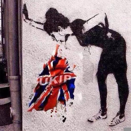 班克斯为抗议英国脱欧创作的涂鸦作品