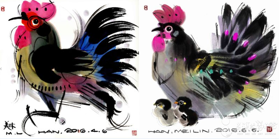 韩美林《丁酉年》鸡票图案——水墨鸡画