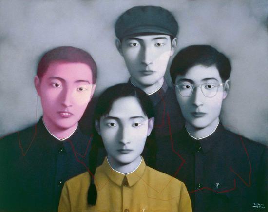 张晓刚《血缘:大家庭二号》。图片:北京匡时