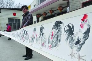 青岛画家历时半年绘《百鸡图》 无一雷同