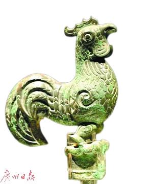 四川三星堆遗址出土青铜雄鸡