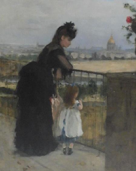 贝尔特?莫里索,《阳台上的女人与小孩》, 1872 年作,估价: 1,500,000-2,000,000 英镑,图源佳士得