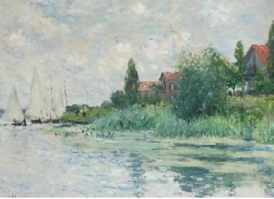 克劳德?莫内,《小热讷维耶的塞纳-马恩省河畔》, 1874 年 作, 估价: 2,000,000-3,000,000 英镑,图源佳士得