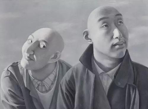 方力钧 《系列一之五》 81×100cm 布面油画 1990-1991 以1840万元成交于2016北京保利秋拍。图片源自网络