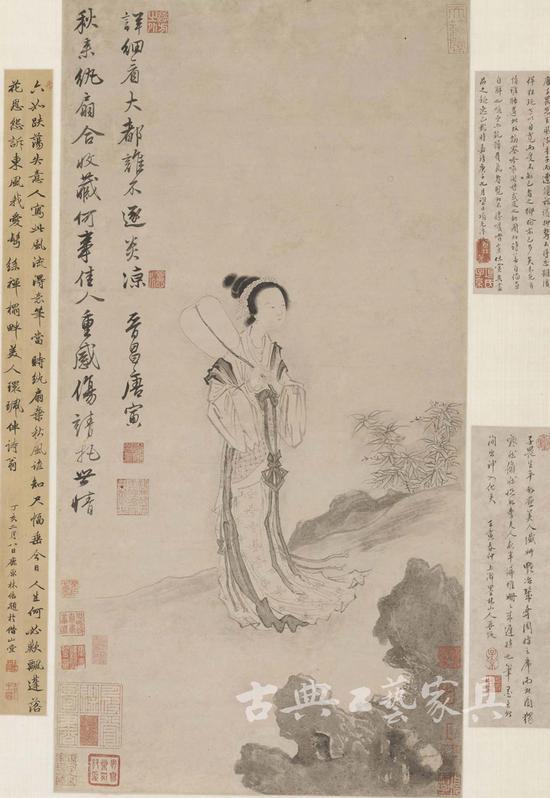 唐寅 《秋风纨扇图》,16岁的项元汴于其上题跋,18岁时,再跋。