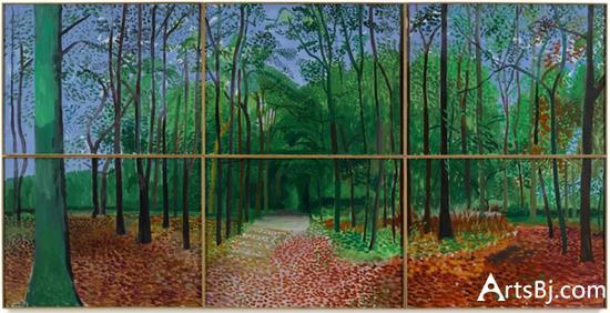 大卫·霍克尼,《Woldgate森林,2006年10月24,25,26日》。预估价900万至1200万美元。图片:Courtesy Sotheby's