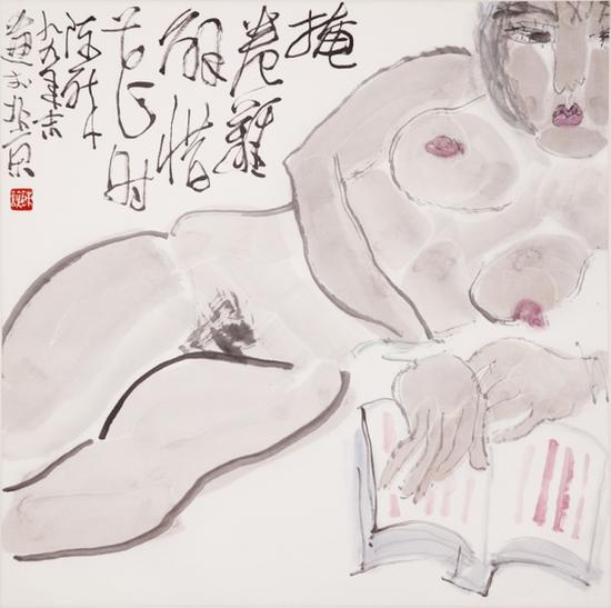 1  陈醉《掩卷难解惜花时》1999年 68 ×68cm
