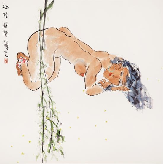 16 陈醉《细听春声》 2013年68× 68cm