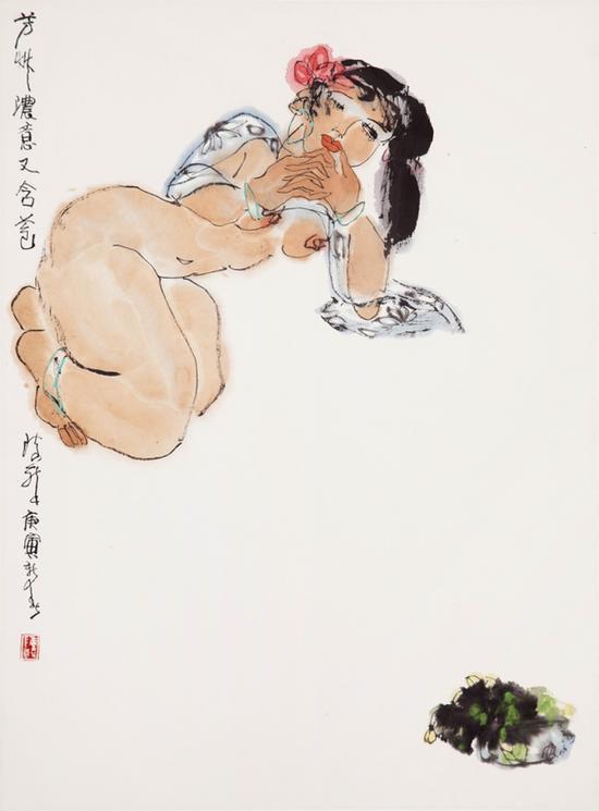 15 陈醉《芳草浓意又含苞》 2010年 60× 46cm