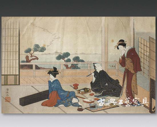 浮世绘里的宴会情景,人们奏乐饮茶.-日本武士 中国文人与茶的故事图片